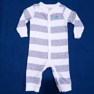 6M Carter's Whale Pyjamas Striped Grey White
